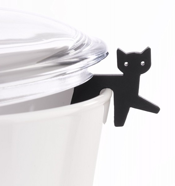 Topfwächter Katze, schwarz