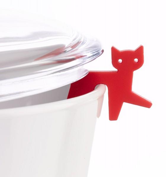 Topfwächter Katze, rot