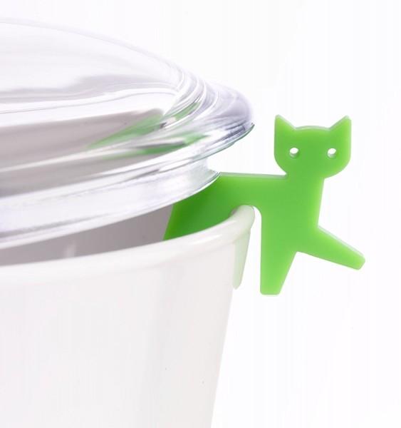 Topfwächter Katze, hellgrün
