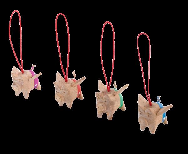 Holzschwein mit Flügel in 4 Farben