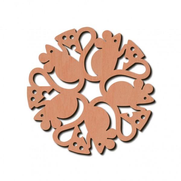 Holzstern - Maus Ø 8 cm