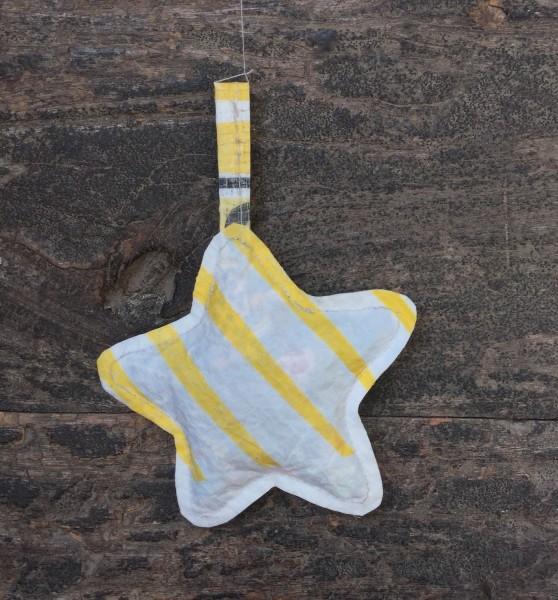 Stern aus Plastik, gelb + weiß