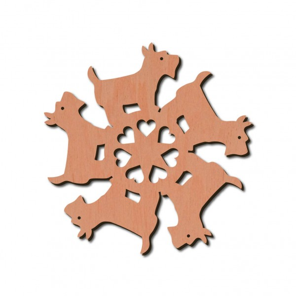 Holzstern - Hund Ø 8 cm